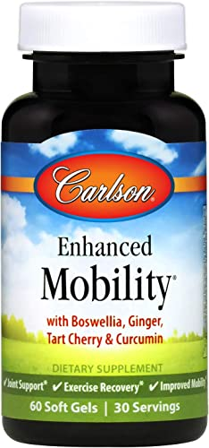 Carlson – Enhanced Mobility, Botanical Joint Support, Boswellia, Tart Cherry, Curcumin, Ginger, 60 Softgels