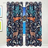 Vantaso Window Curtains 84 Inch Long Forest Wild Animals Fox Deer Rabbit for Kids Girls Boys Bedroom Living Room Polyester 2 Pannels