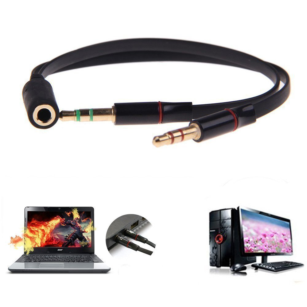 Buy Unmcore Gold Plated 2 Male To 1 Female 35mm Headphone Earphone 3 5mm Jack Wiring Mic Audio Y Splitter Cable Cord Wire For Pc Laptop Black Online At Low Prices In India