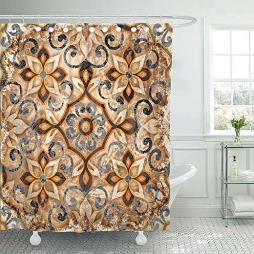 Breezat Shower Curtain Colorful Abstract Vintage Italian with Moroccan Pattern Antique Waterproof Polyester Fabric 72 x 78 Inches Set with Hooks