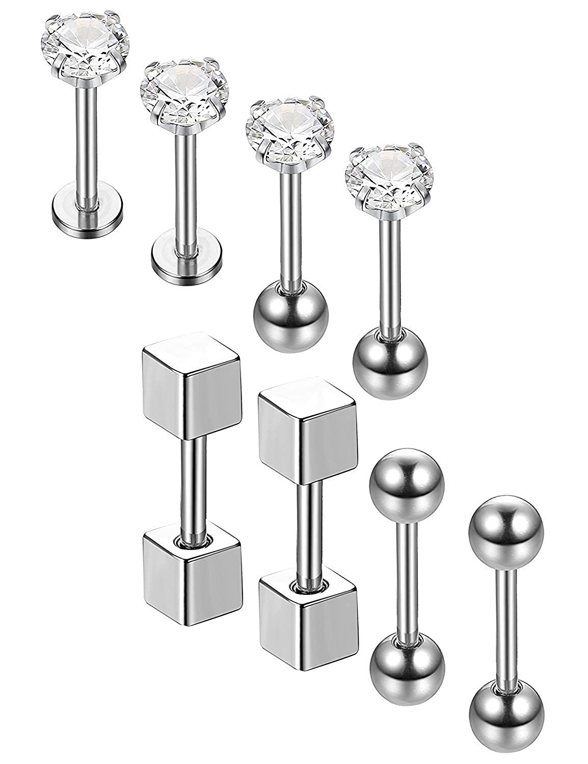 Subiceto 4Pairs 18G Stainless Steel Ear Piercing Jewelry Barbell Piercing Studs Cartilage Helix Earrings CZ Inlaid