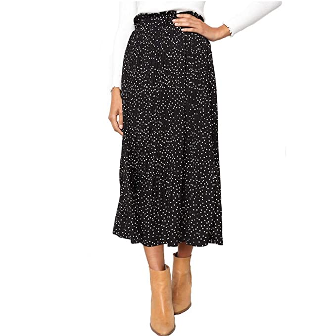 super specials classic style the sale of shoes Laiyuan Casual Midi Skirt for Women High Waist Polka Dot Pleated Skirt with  Pockets