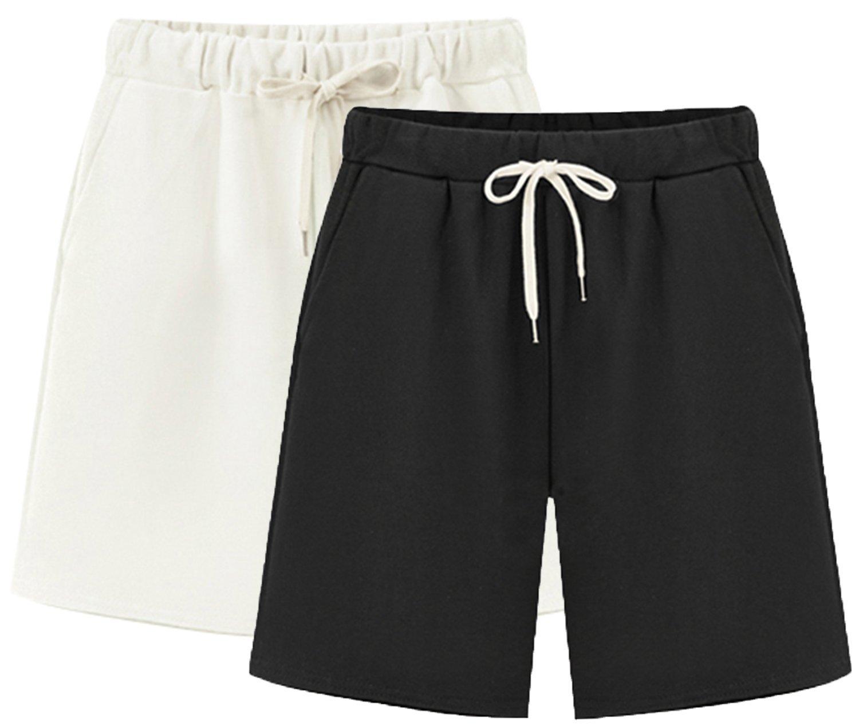 Vcansion Women's Elastic Waist Loose Bermuda Style Walking Shorts 2 Pack(White+Black) US 16-18/Asian 6XL