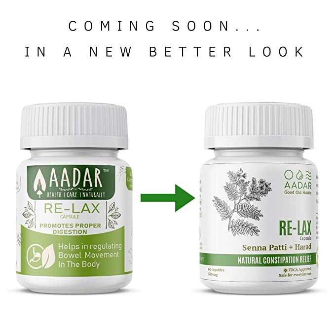AADAR Re-LAX Capsules for Constipation Relief, Good Digestion, Bowel Care  and Gastric Wellness - 60 Capsules (Pack of 2)
