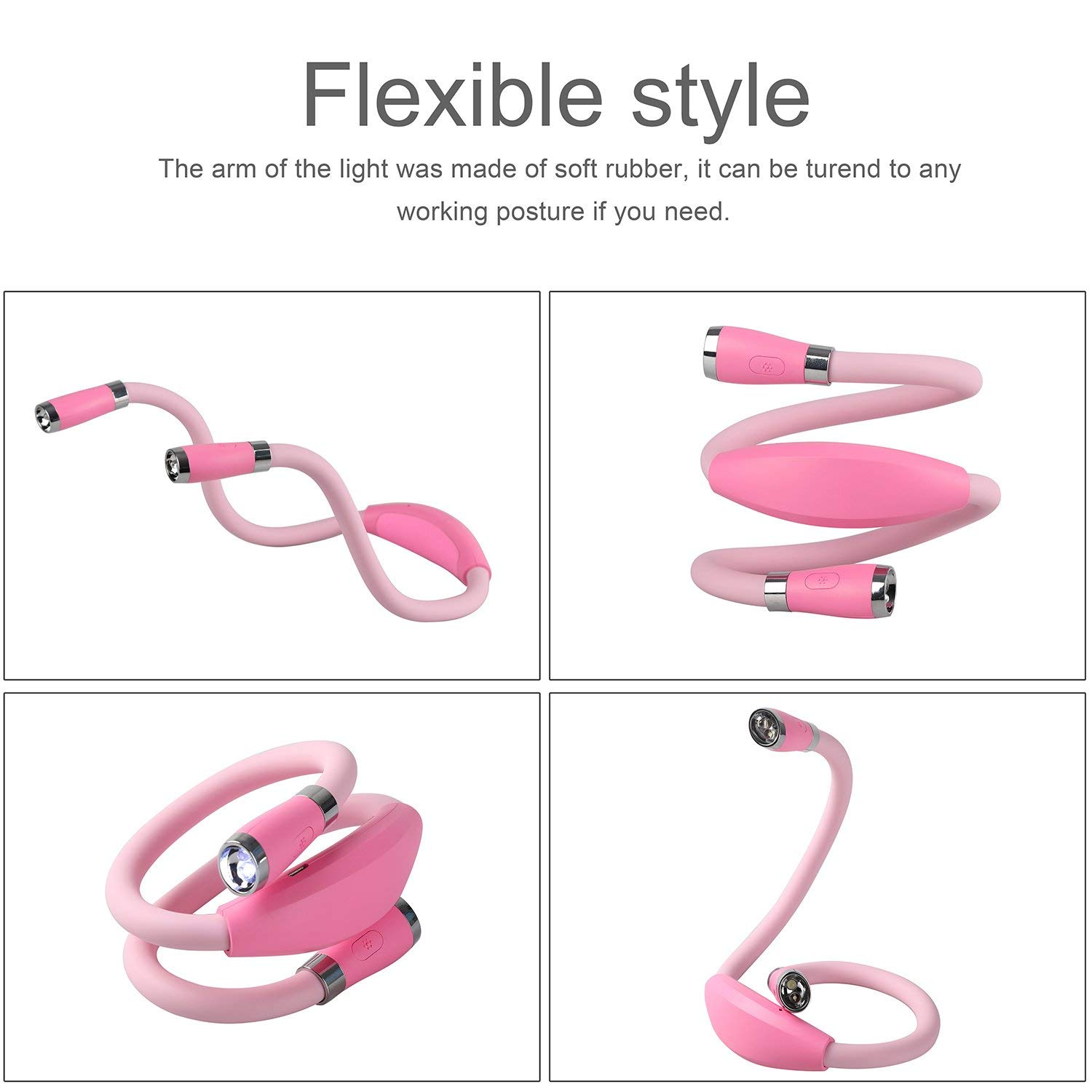 Rechargeable LED Book Light Neck Hug Light 3 Brightness Modes Flexible Arm for Bed Reading Night Jogging Ideal for Bookworms Kids Crafts Knitting Travel or BBQ 4 LED Hand-Free Extra Bright Lamp