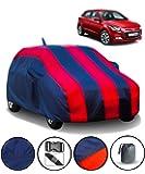 Fabtec Car Body Cover for Hyundai Elite I20 with Mirror Antenna Pocket Storage Bag (Red & Blue)