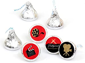 Big Dot of Happiness Red Carpet Hollywood - Movie Night Party Round Candy Sticker Favors - Labels Fit Hershey's Kisses (1 Sheet of 108)