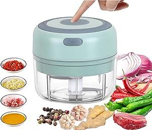 VOUM Mini Food Chopper Electric - 100ML Kitchen Food Processor and Blender, USB Charging Portable Vegetable Fruit Meat Garlic Onion Ginger Chopper with 2 Sharp Blades Grinder,Kitchen Gadget (Green)