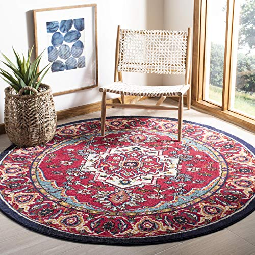 Safavieh Monaco Collection MNC207C Modern Oriental Medallion Red and Turquoise Distressed Round Area Rug (5' in Diameter)