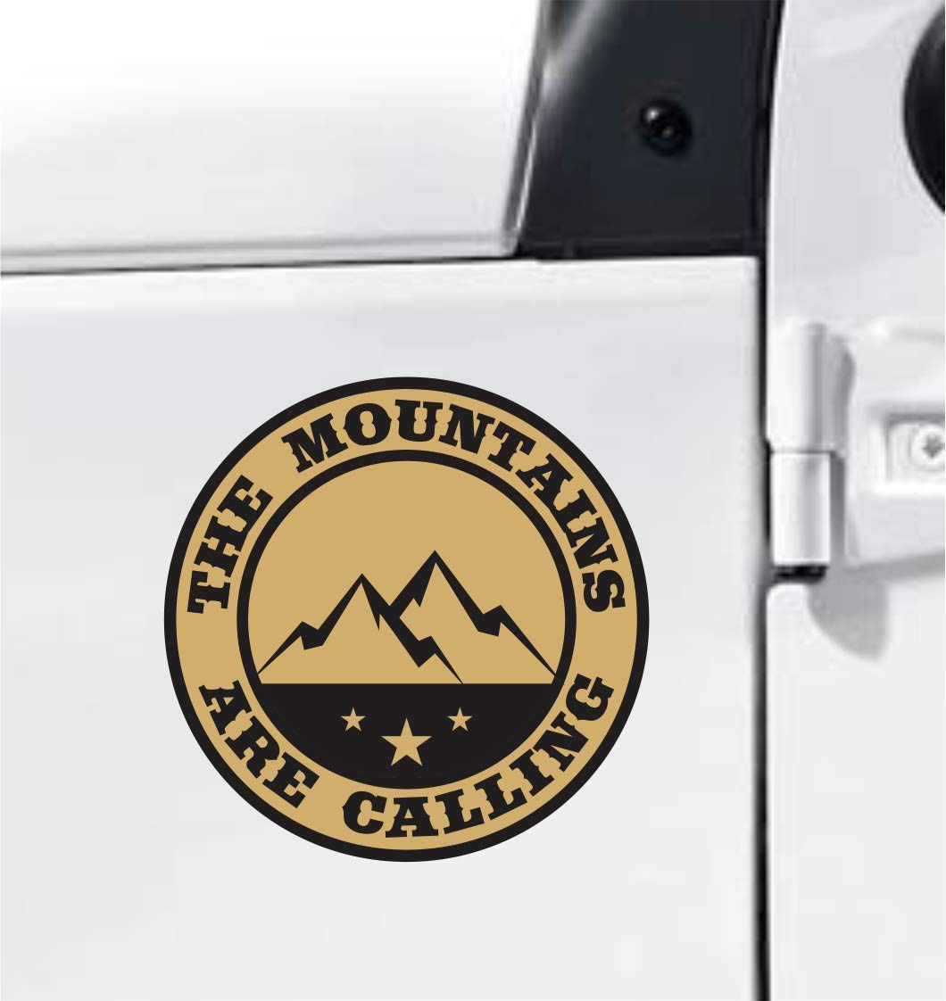 The Mountains Are Calling - Gold & Black Colour, Vinyl Decal Bumper Sticker Outdoor Camping Hiking Rock Climbing Off Road SUV Truck Decal