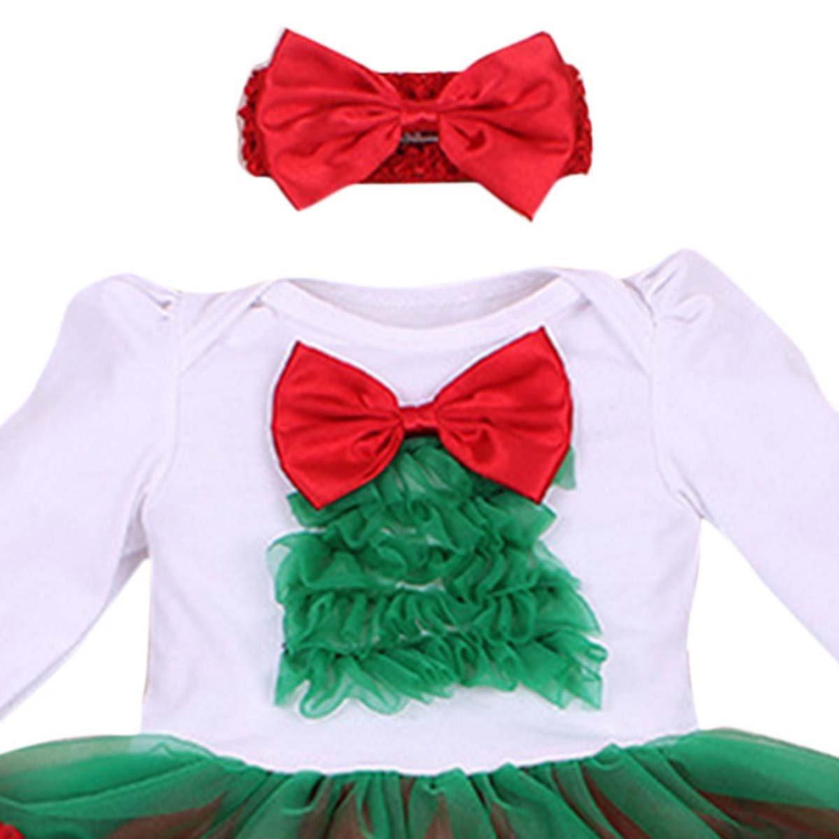 4pcs Baby Girls Christamas Tutu Dress Headband Baby Shoes Cotton Outfit Sets M