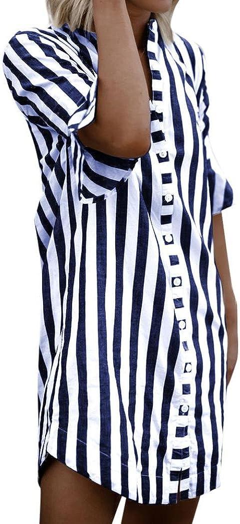 Separación!SHOBDW Las Mujeres de la Manera de Media Manga del Cuerno de la Manga botón a Rayas Elegantes Tops Blusa Larga Camiseta