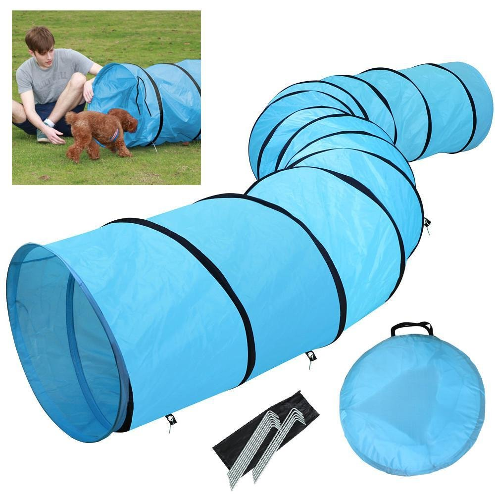 Yaheetech 18ft Pet Dog Agility Obedience Training Tunnel Blue - Dia.24 by Yaheetech
