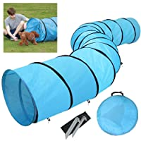 Popamazing Pet Dog Agility Training Tunnel Game with Pegs and Carry Case, Blue, 546cm