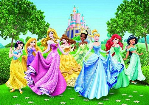 - Disney Princess Poster Photo Wallpaper - Belle, Snow White, Cinderella and Princesses, Garden Party (142 x 100 inches)