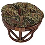 International Caravan 3301-TP-46-IC Furniture Piece Rattan Footsool with Tapestry Cushion