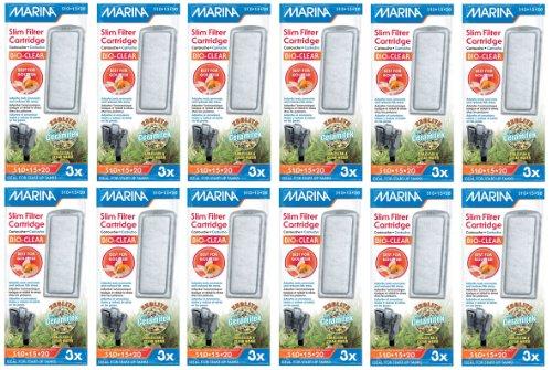 Hagen Marina Slim Filter Zeolite Plus Ceramic Cartridge for Aquarium, 3 count (12 Pack)