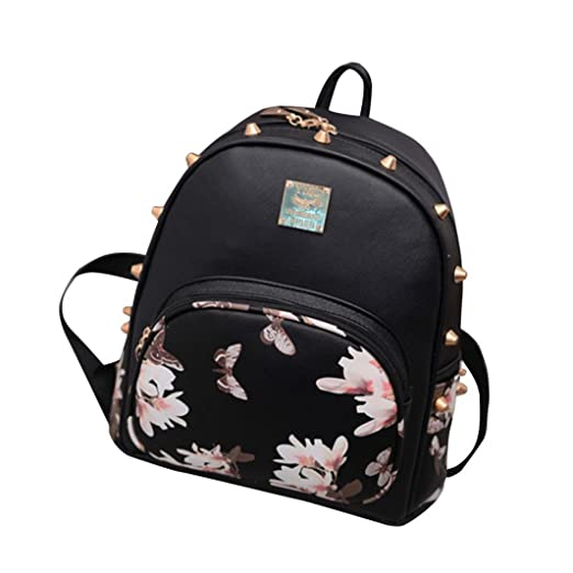 Respctful Backpack for Girls Fashion Floral Printing School Bags (Black) 87692269c05f2