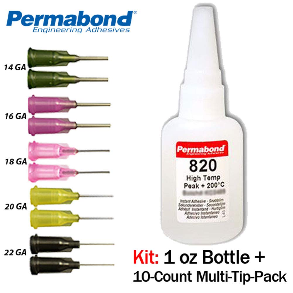 Permabond 820 (1oz Bottle+Tip Multipack) Instant Adhesive-Fast-Set Temperature-Resistant Thin General Purpose