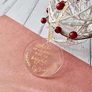 UNIQOOO 20 Count DIY Round Acrylic Christmas Ornament 2020 – 4mm Thick Clear Tree Bauble Ornament, Tag, Stocking Name Tags, Place Cards, Perfect for Wedding & Party Decoration - 2 3/4