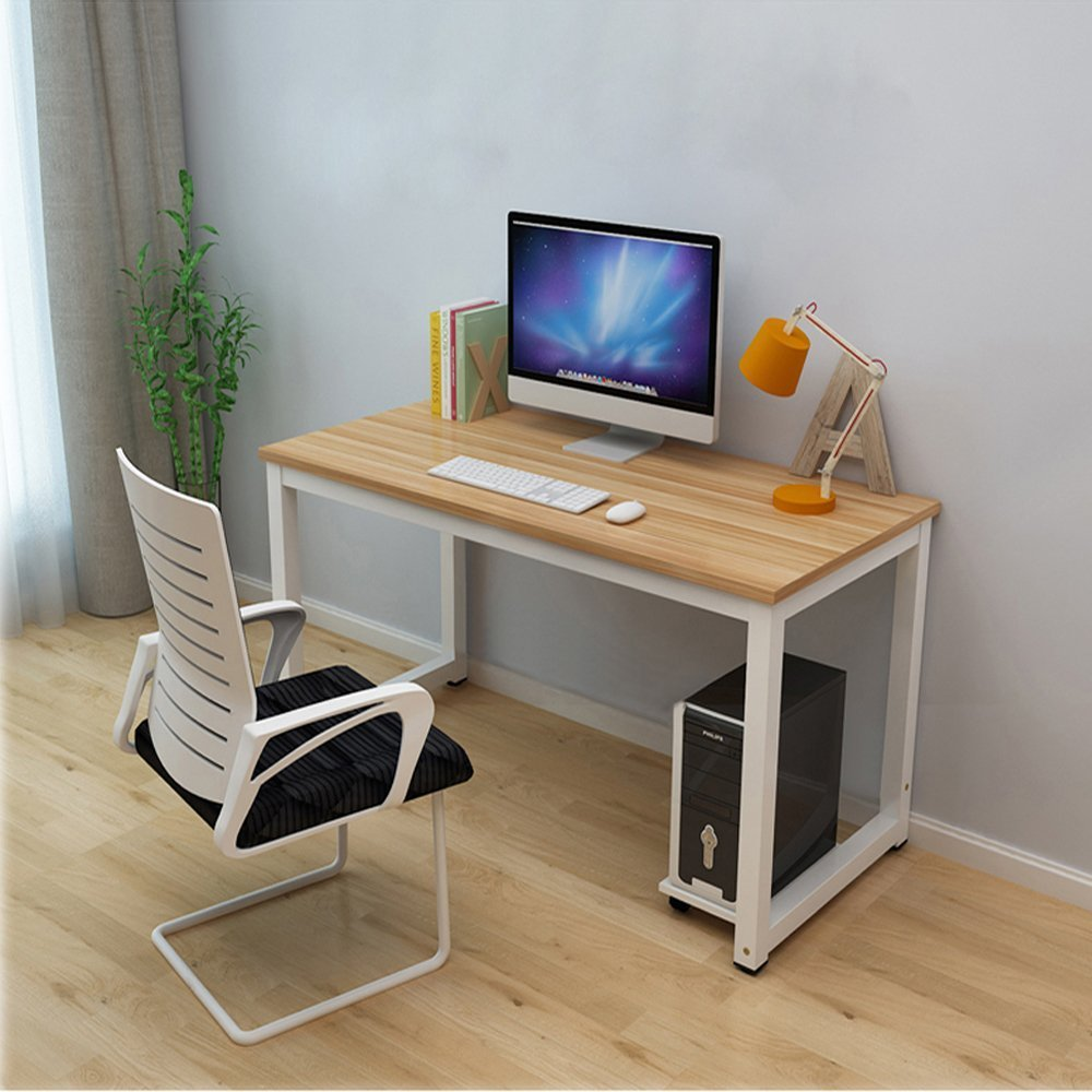 Dripex Modern Simple Style Steel Frame Wooden Home Office Table - Computer PC Laptop Desk Study Table Workstation for Home Office and More (Reddish-Brown)