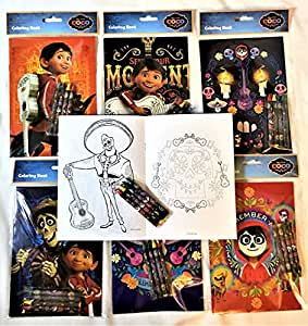 12 COCO Disney PIXAR Coloring Books and 48 Crayons Set Children Disney Party Favors Bag Filler
