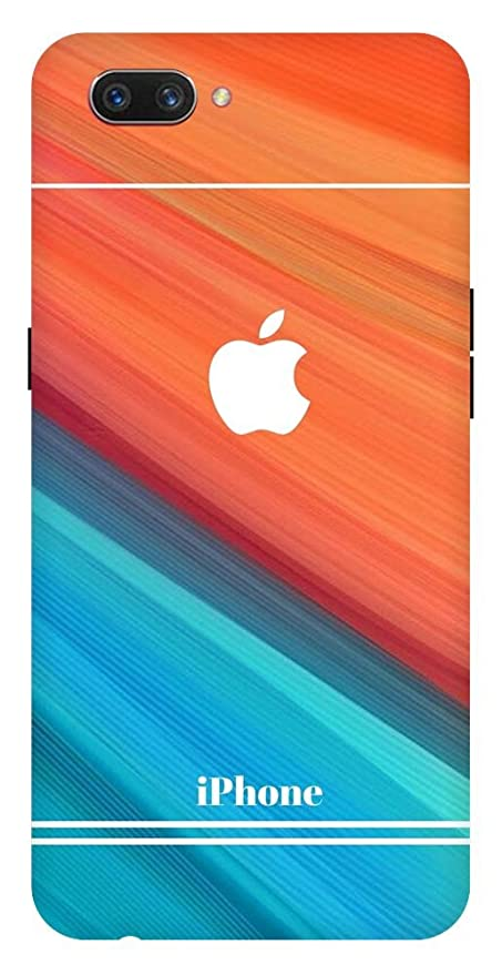 check out f63dc 2d111 CHUNGROO Soft Silicon Mobile Back Case Cover with Colour Block Orange and  Blue Shaded iPhone Logo Printed Phone Covers for Oppo A3S