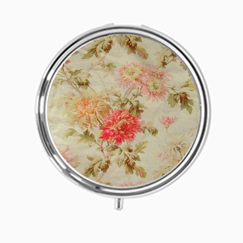 Udoosun Pill Box Case Personlized Round Tablet Medicine Pocket Purse Travel Pill Vitamin Decorative Box Case Holder (Vintage Floral Flowers)