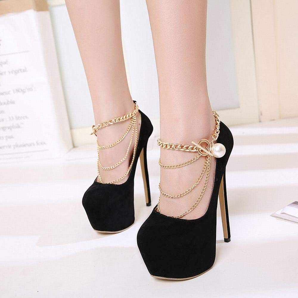 Color : Black, Size : 40 Kathleen Chance Womens Wild High Heels Chain Single Shoes High Heel