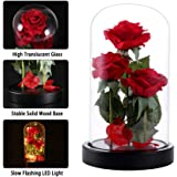 Beauty and The Beast Rose, Table Lamp, 40 LED Lights in Glass Dome on Wood Base, 8 Warm Light mode, Multi Use for Home/Office or Home Decorations, Anniversary, Valentine's Day Christmas