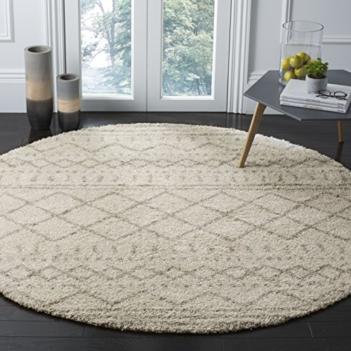 Safavieh Arizona Shag Collection ASG741A Southwestern Ivory and Beige Round Area Rug (6'7