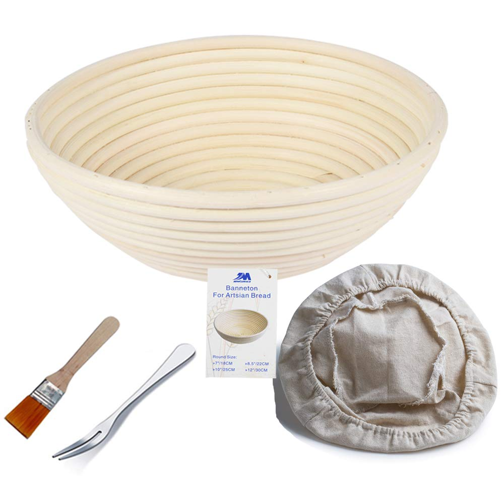 Banneton Proofing Basket 8.5 Round Banneton Brotform for Bread and 750g Dough [FREE BRUSH] Proofing Rising Rattan Bowl + FREE LINER +FREE BREAD FORK Jingmei
