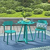 Great Deal Furniture Kate Outdoor Iron Bistro Set, Matte Teal