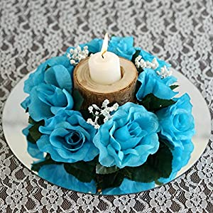 Tableclothsfactory 8 pcs Artificial Roses Flowers Candle Rings Wedding Centerpieces - Turquoise 61