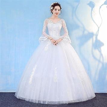 LUCKY-U Vestido De Novia, Vestido De Novia Elegante Floral del Partido De Encaje