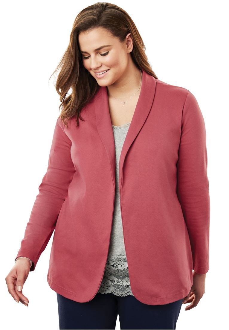 Women's Plus Size 7-Day Knit Jacket Rose Bloom,3X