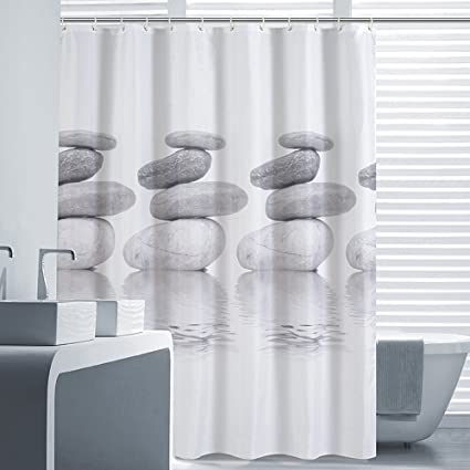 Riverbyland Shower Curtains Grey Stone 72quot X 80quot