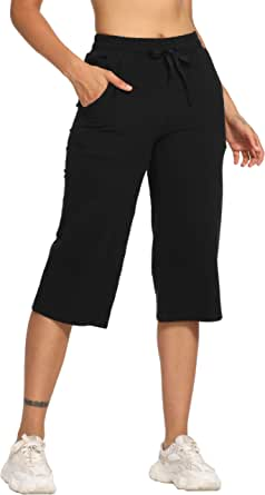 """LastFor1 Women's 19"""" Yoga Lounge Capri Pants Active Jogger Flare Cropped Jersey Pants with Pockets"""