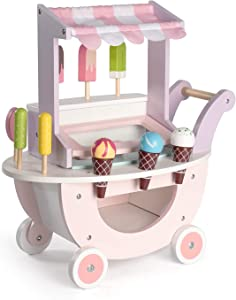 ROBUD Wooden Ice Cream Cart Toys for Kids,Toddlers Pretend Play Food Truck, Gift for Girls and Boys 3 Years & Up
