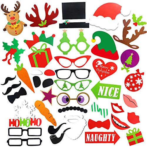 Christmas Party Photo Booth Props, 52PCS DIY Kits Dress-up Decoration for Christmas Theme Party Favors Decorations]()