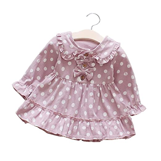 dd62e6ea4 Amazon.com: Newborn Toddler Girls Spring Dress Long Sleeve Floral Polka Dot  Skirt Casual Party Princess Dress for Autumn Summer: Clothing