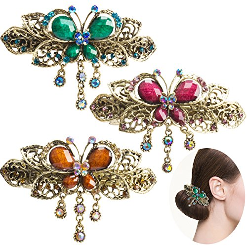 Jaciya 3 Pack Retro Flower Butterfly Style Hair Clips Hair Barrette Hair Pin Barrettes Spring Clip for Women Girls, 3 Colors