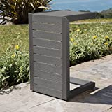 Crested Bay Patio Furniture | Outdoor Grey Aluminum C-Shaped Side Table For Sale