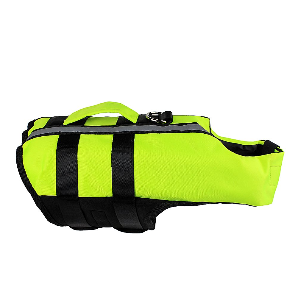 Youyixun Dog Life Jacket, Dog Swimming Vest, Swim Suit for Dogs Which Is Folding Inflatable and Portable-Green