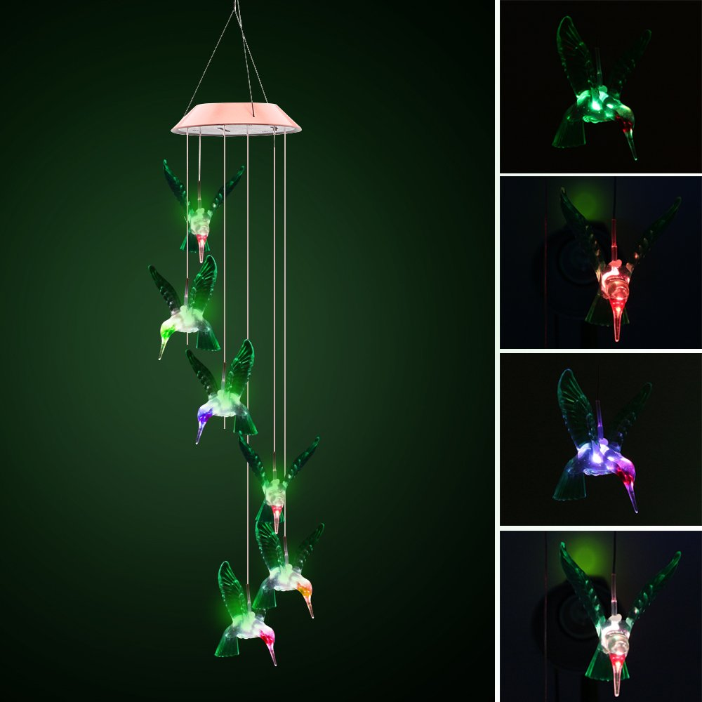 ALLOMN Solar Wind Chimes Color-Changing LED Solar Powered Hanging Night Light Waterproof 6 Hummingbird Wind Chimes for Outdoor Indoor Garden Party Decoration