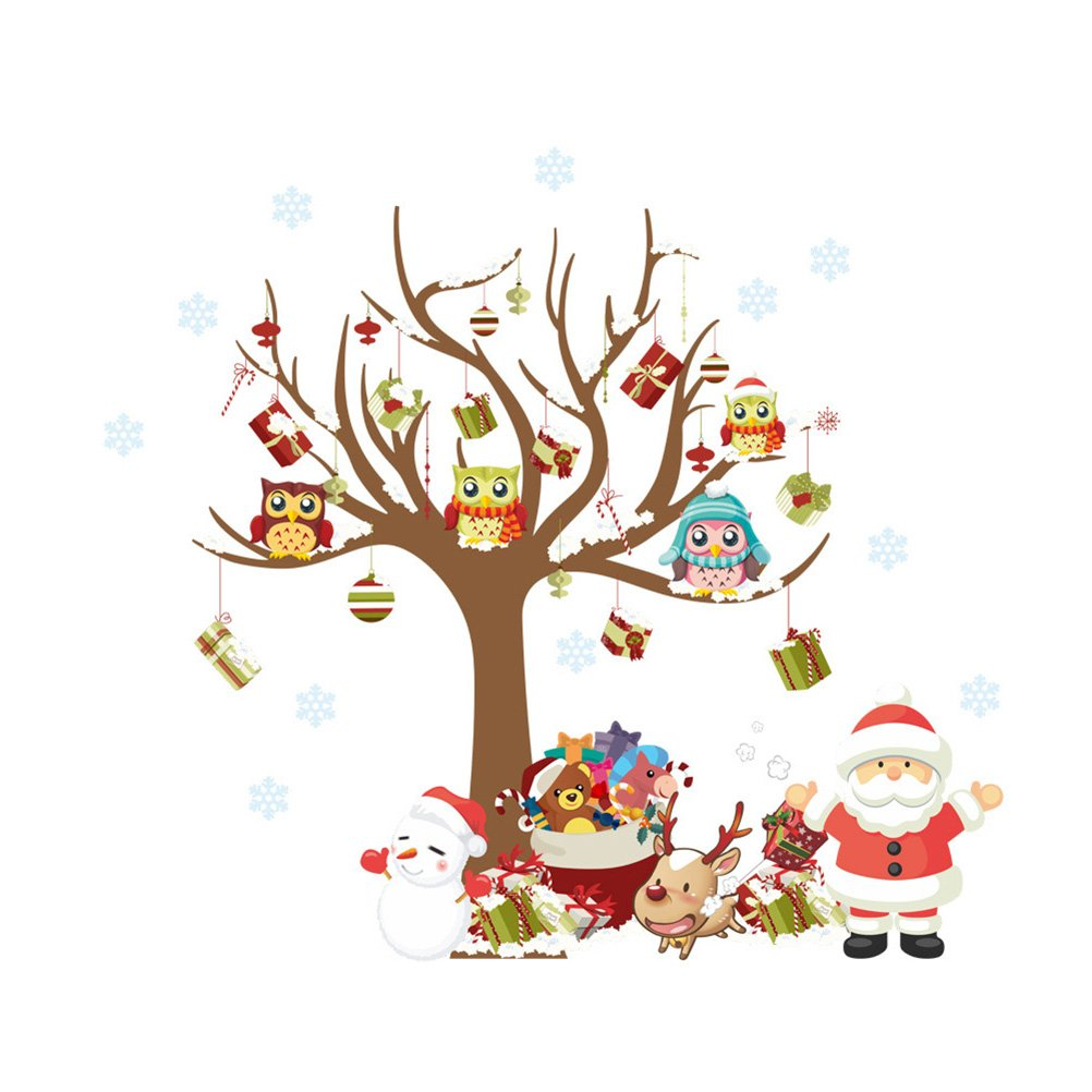 WINOMO Adesivi Murales Natale, Natale Vetrofanie Rimovibile Adesivi Murali Fai da te Finestra Decorazione Vetrina Adesivi