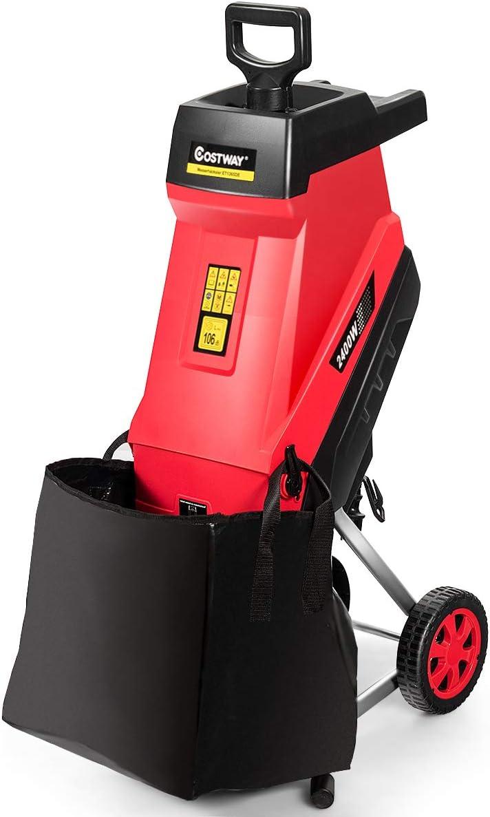 COSTWAY Trituradora de Jardín de 2400 W con Ruedas y Protección de Sobrecarga Cortadora para Ramas hasta 45 mm con Bolsa de 45L