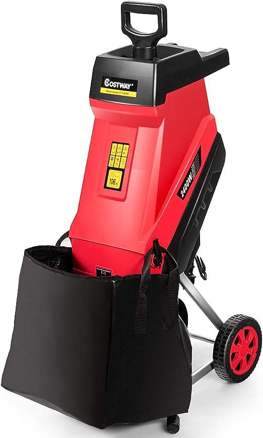COSTWAY Trituradora de Jardín de 2400 W con Ruedas y Protección de Sobrecarga Cortadora para Ramas hasta 45 mm con Bolsa de 45L: Amazon.es: Hogar