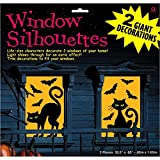 "Amscan Cats and Bats Window Silhouette Halloween Trick Or Treat Decoration (2 Piece), Black/Orange, 65"" x 33 1/2"""