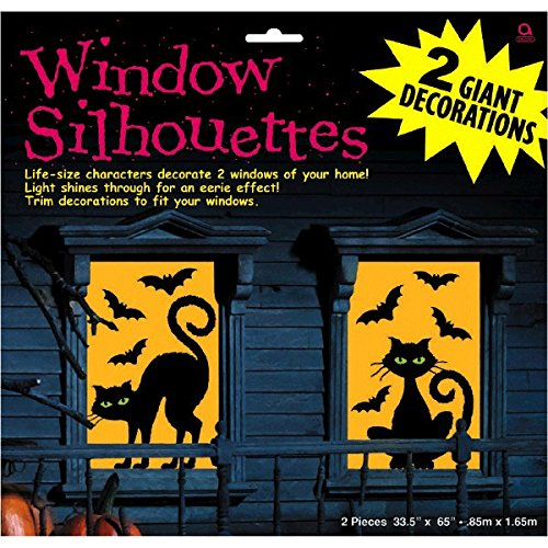 Amscan Cats and Bats Window Silhouette Halloween Trick Or Treat Decoration (2 Piece), Black/Orange, 65